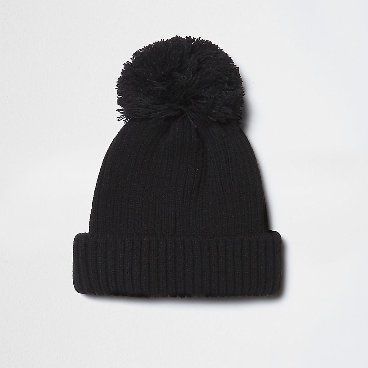 Black knit bobble hat