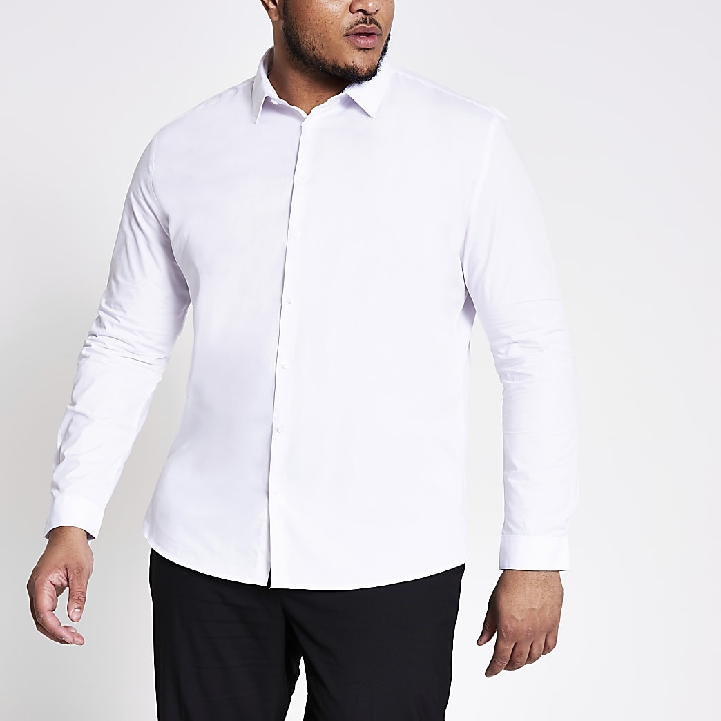 Big and Tall white slim fit shirt