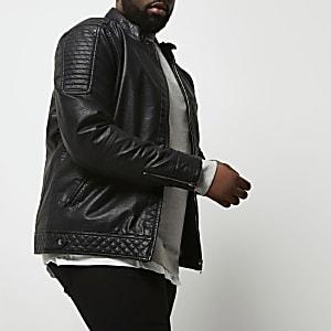 Veste Big & Tall en cuir synthétique à col montant