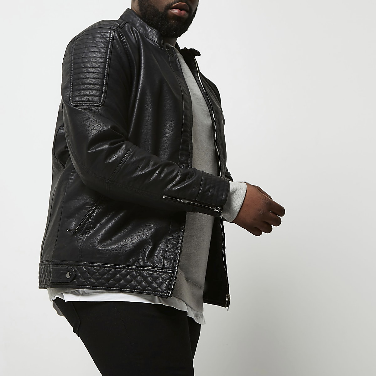 Big and Tall faux leather racer neck jacket