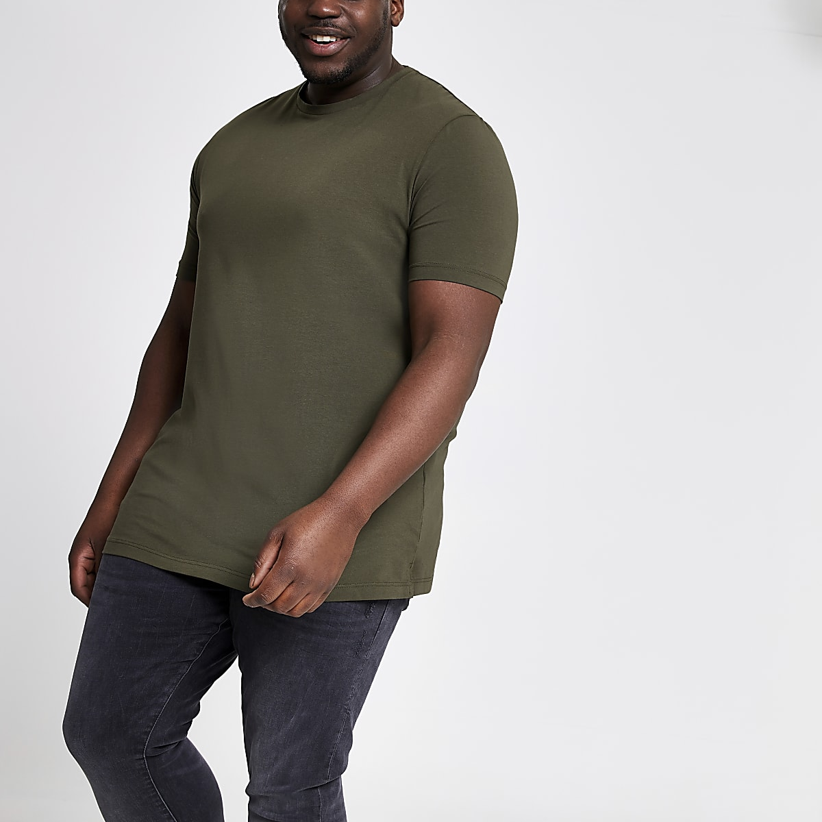 RI Big and Tall - Donkergroen aansluitend T-shirt