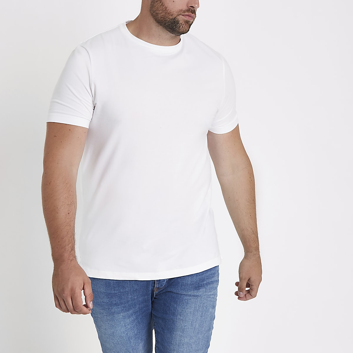 Big and Tall - Wit aansluitend T-shirt