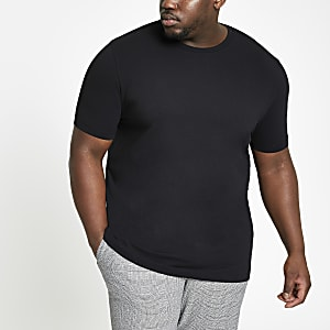 Big & Tall – T-shirt noir ras-du-cou