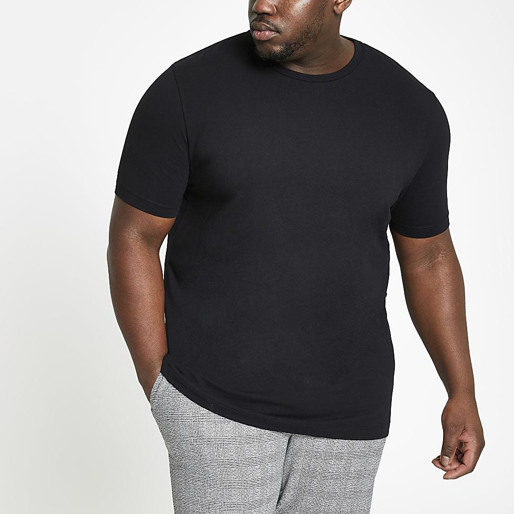 Big and Tall - Zwart aansluitend T-shirt