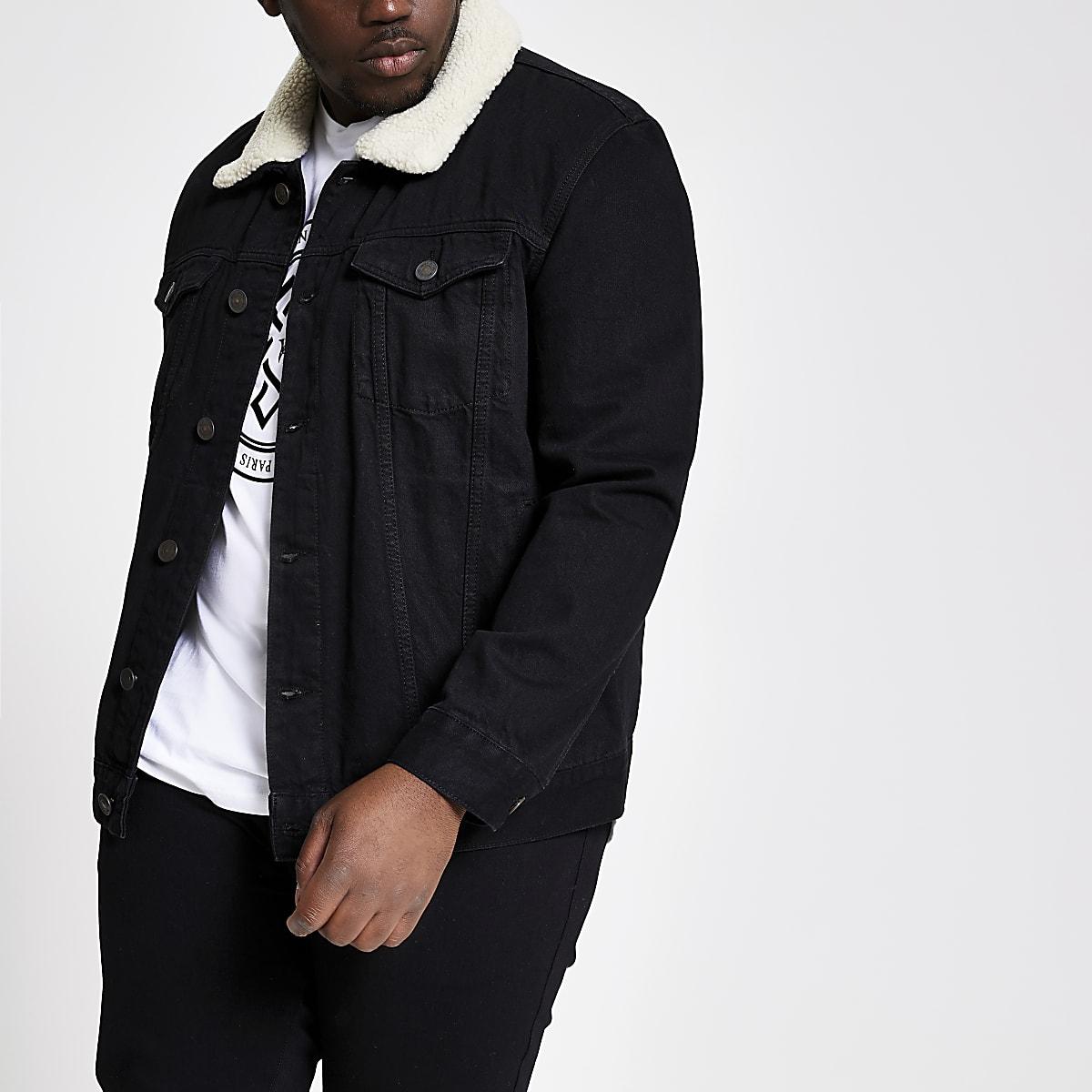 Big & Tall – Schwarze Jeansjacke mit Borgkragen
