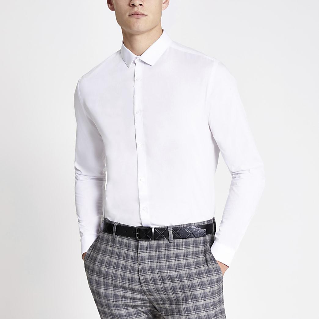 Weißes, langärmliges Slim Fit Hemd