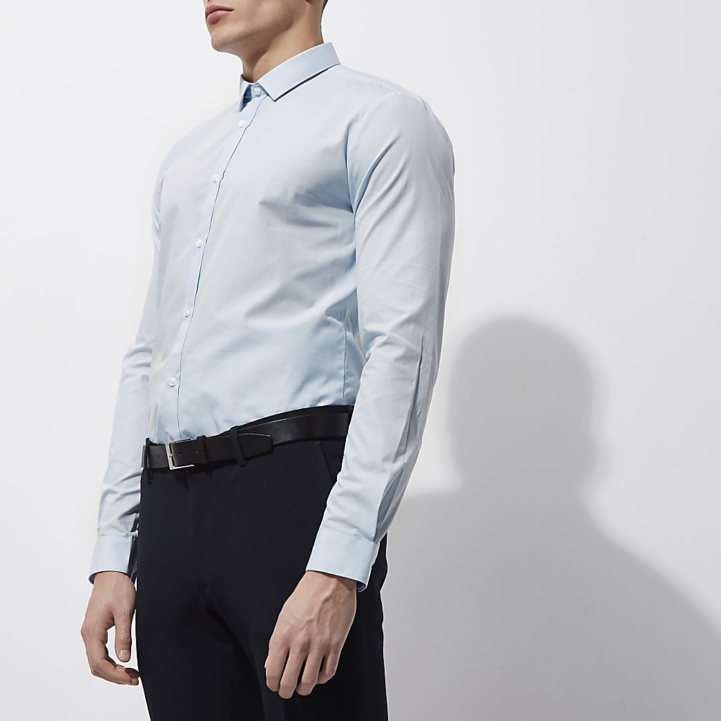 Light blue slim fit long sleeve smart shirt