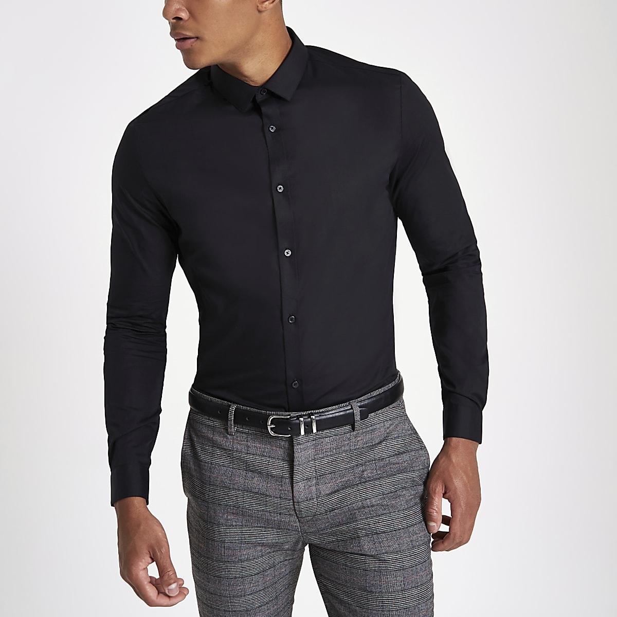 Overhemd Zwart Slim Fit.Zwart Slim Fit Net Overhemd Met Lange Mouwen Overhemden Met Lange
