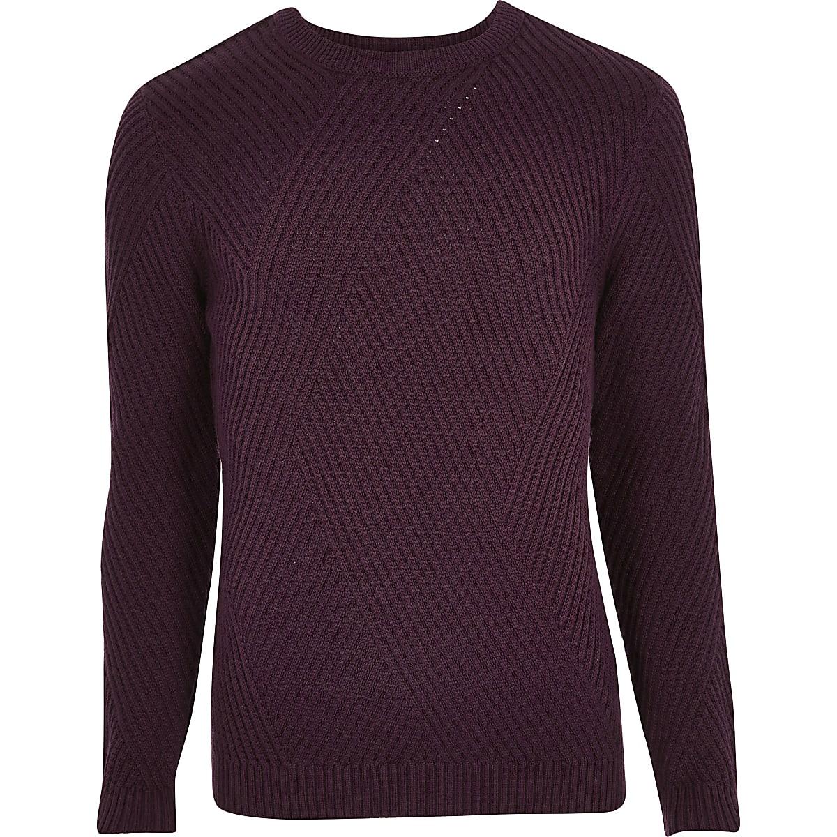 Dark red ribbed panel slim fit sweater