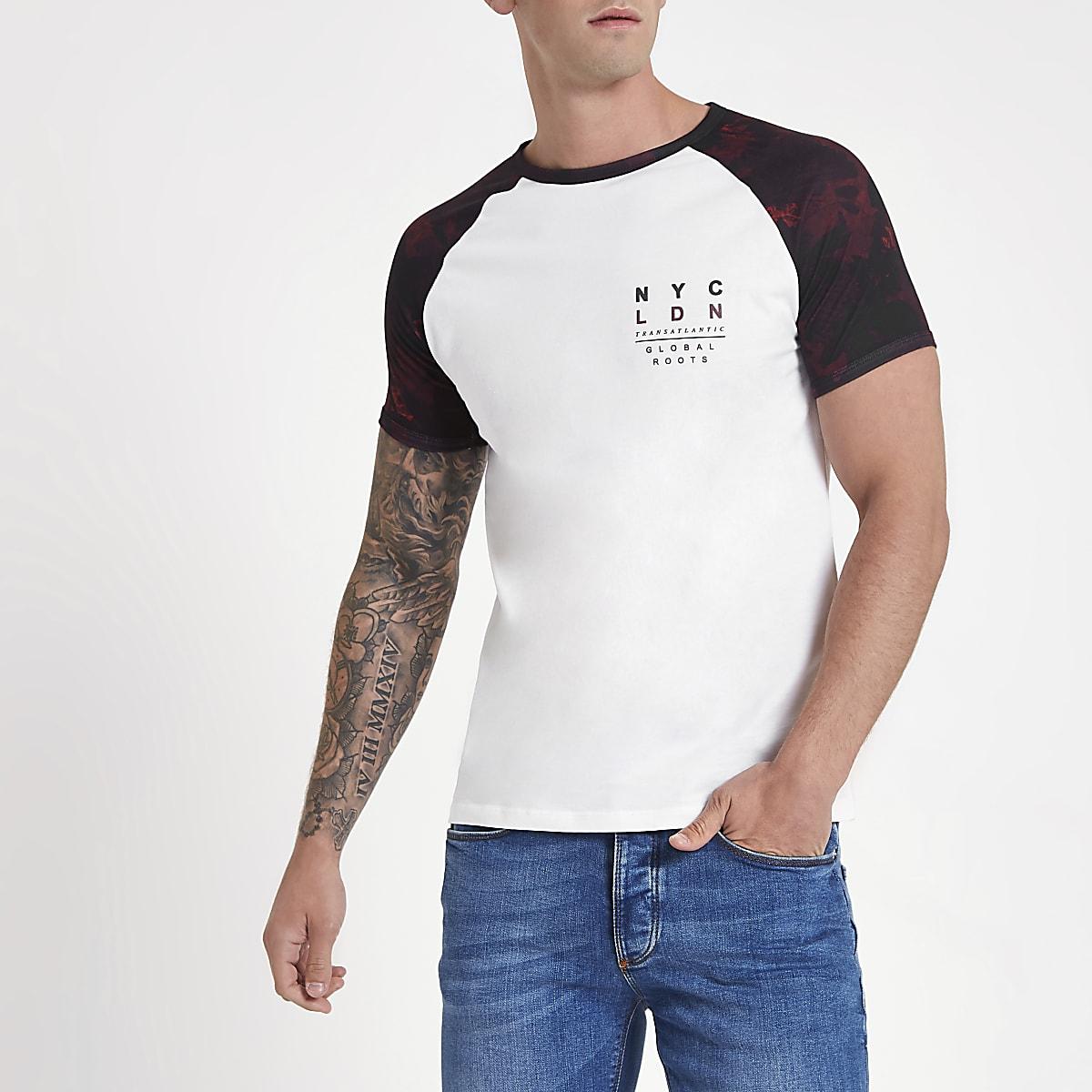 White leaf print short sleeve raglan T-shirt