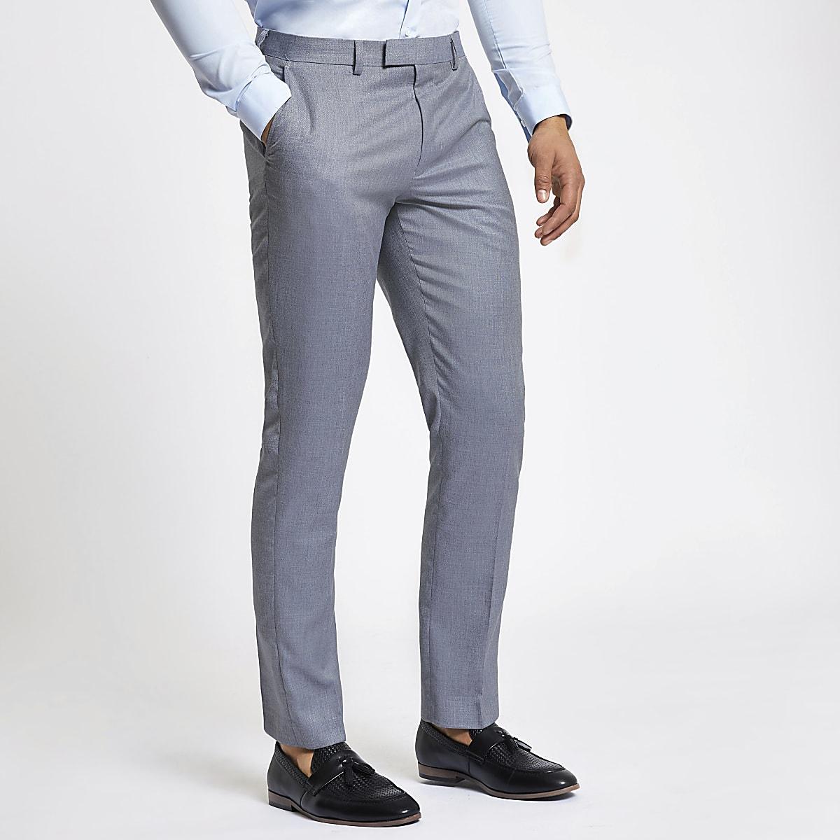Light blue slim fit suit pants
