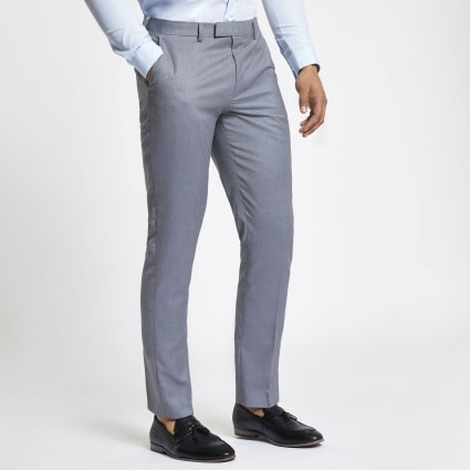 Light blue slim fit suit trousers