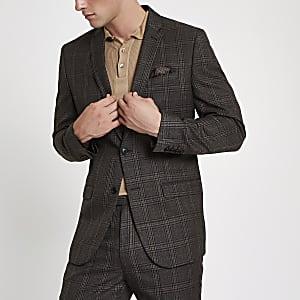 Veste de costume slim à carreaux marron