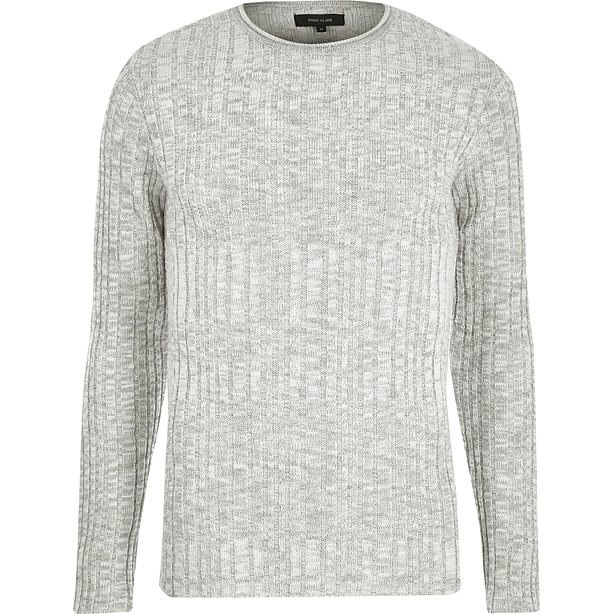 Stone ribbed skinny fit sweater