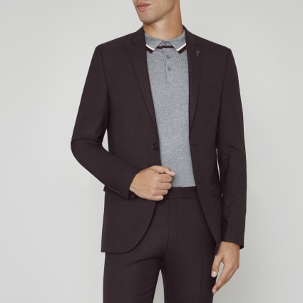 Burgundy skinny fit wool blend suit jacket