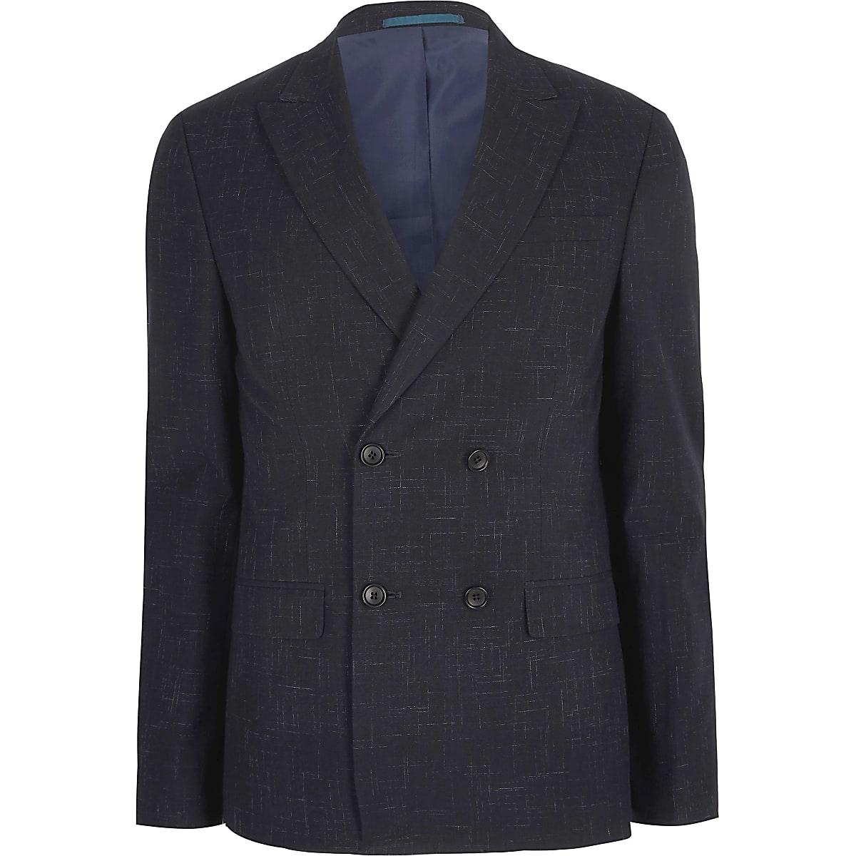 Navy skinny double breasted suit jacket
