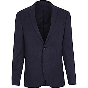 Navy stripe skinny suit jacket