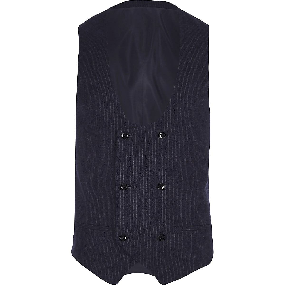 Navy stripe double breasted suit vest