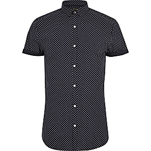 Navy polka dot short sleeve slim fit shirt