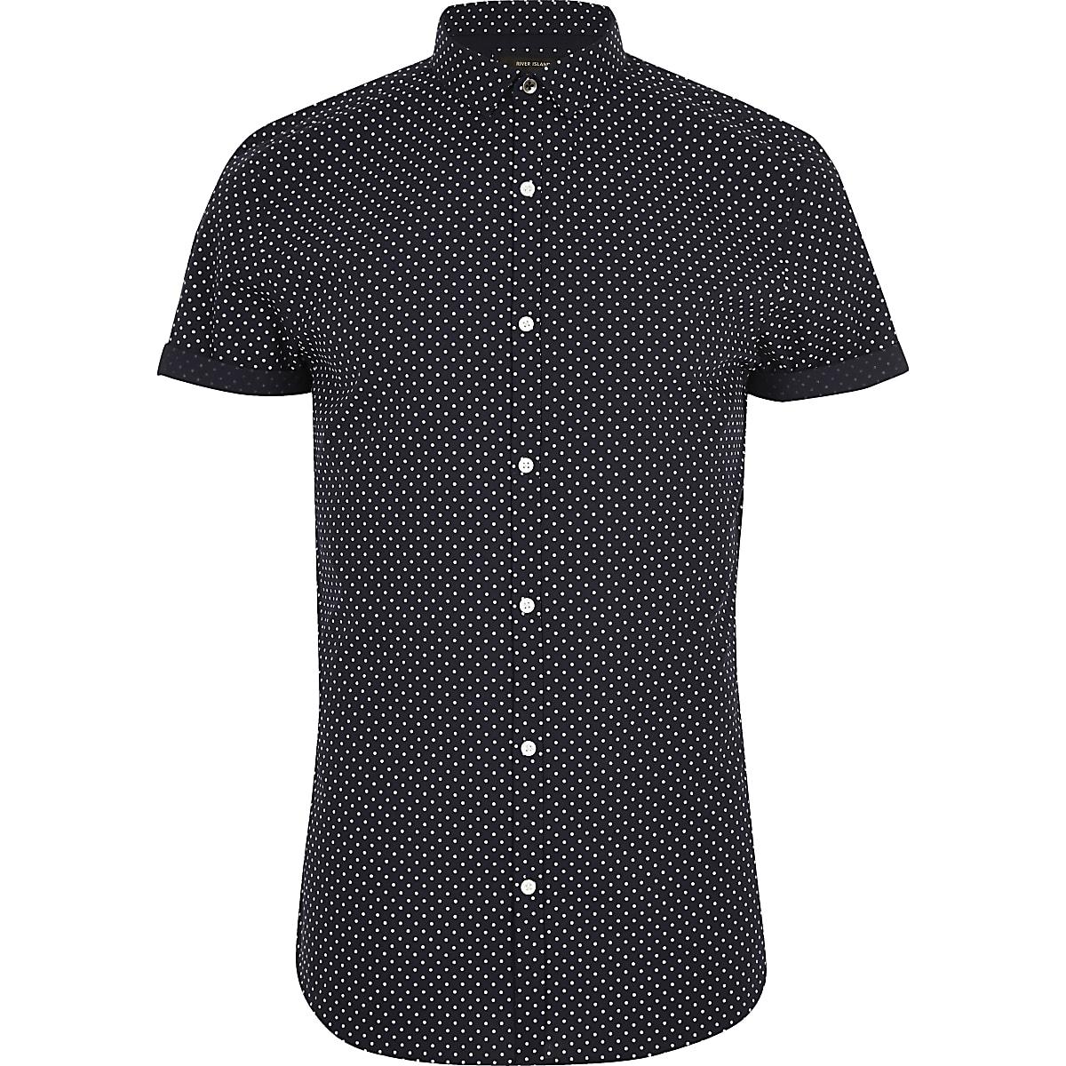 Navy polka dot short sleeve slim fit shirt