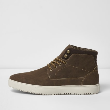 Brown lace-up high top trainers