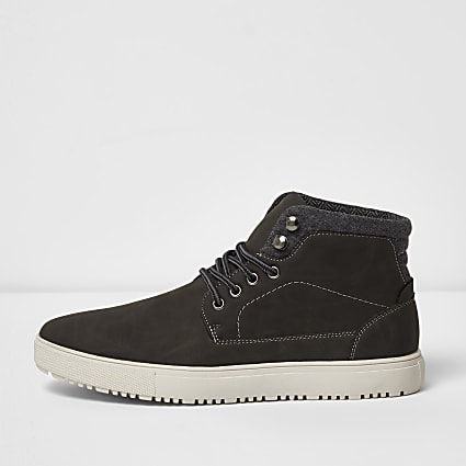 Grey lace-up high top trainers