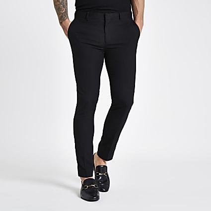 Black super skinny smart trousers