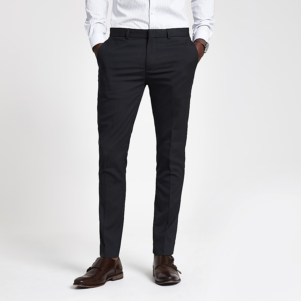 Navy super skinny fit smart trousers