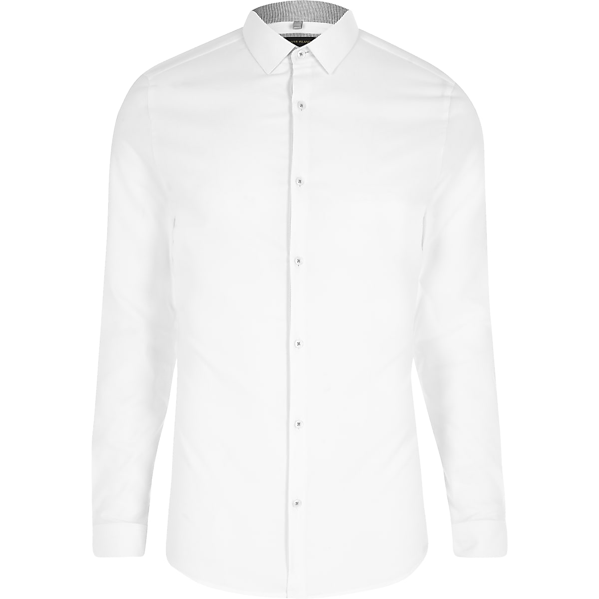 ee9a20859e5 White textured semi cutaway skinny fit shirt