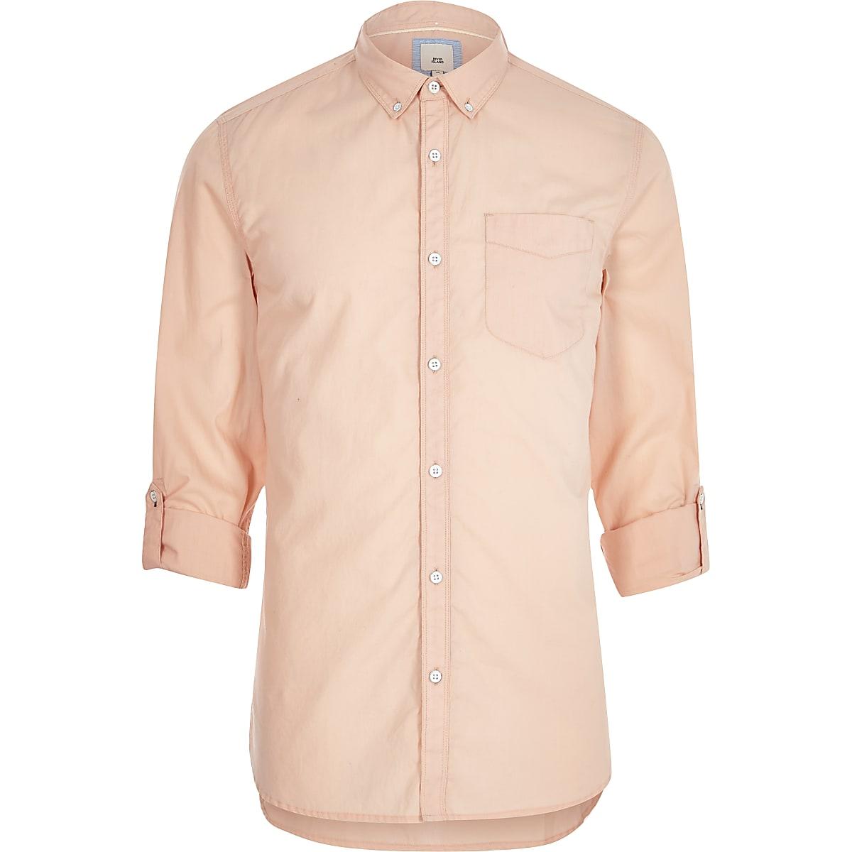 Orange long sleeve slim fit summer shirt