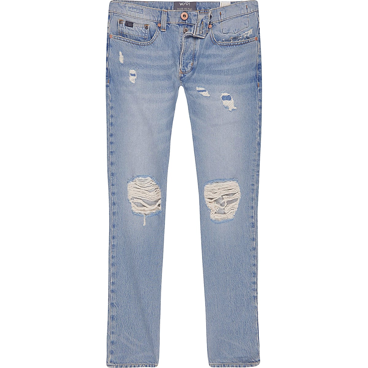 Light blue wash ripped Sid skinny warp jeans