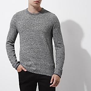 Grijze slim-fit pullover met textuur en ronde hals