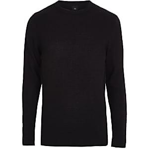 Navy slim fit crew neck sweater