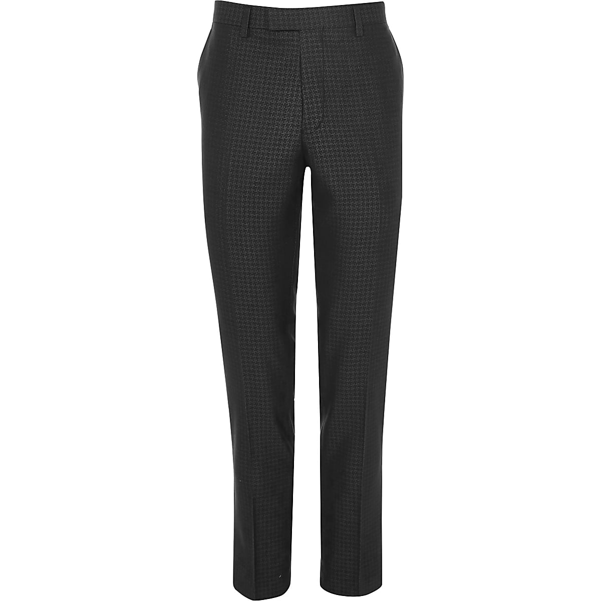 Grey metallic houndstooth skinny suit pants