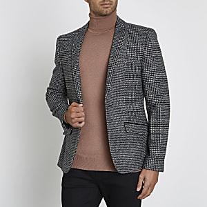 Grijze geruite skinny blazer