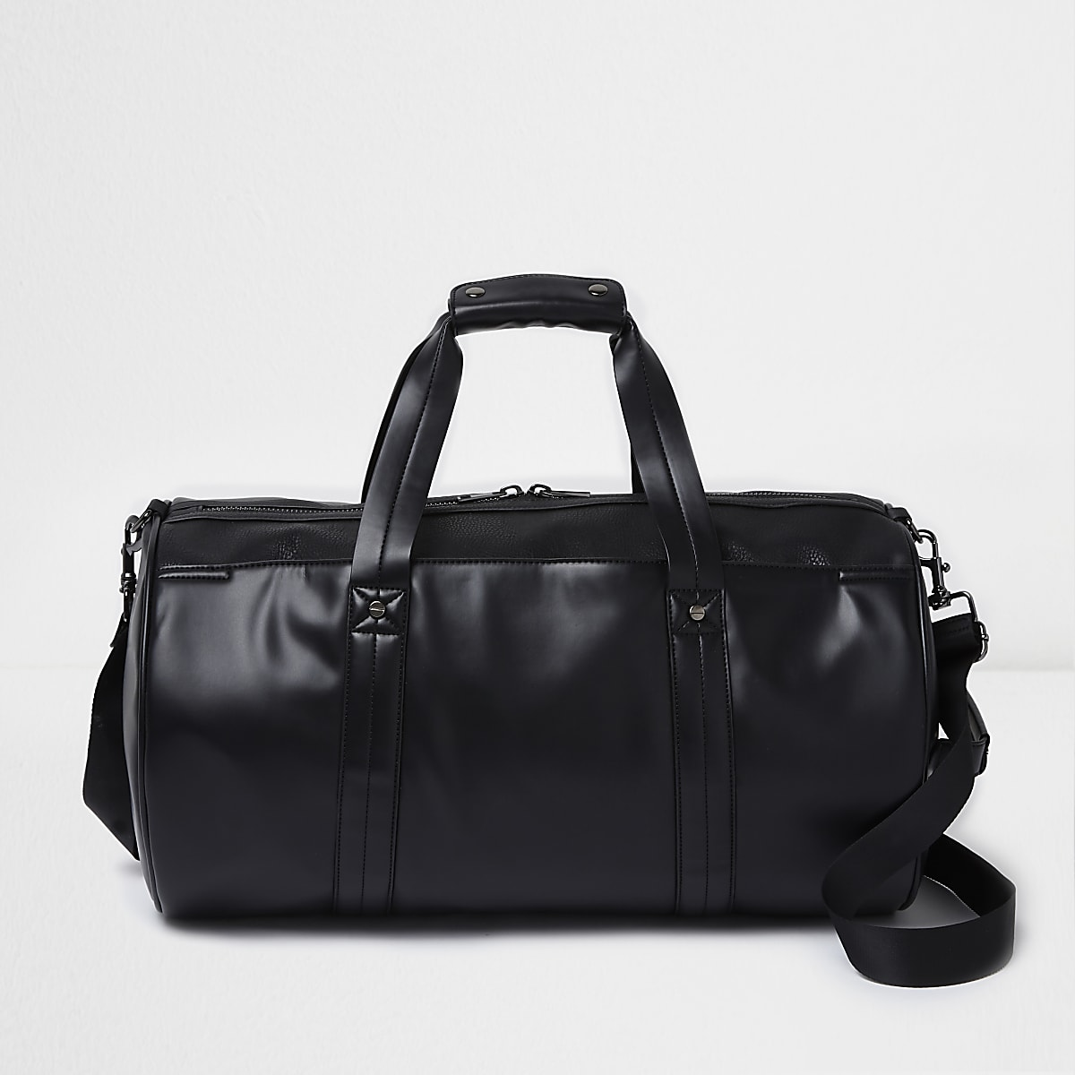 Black faux leather front pocket holdall