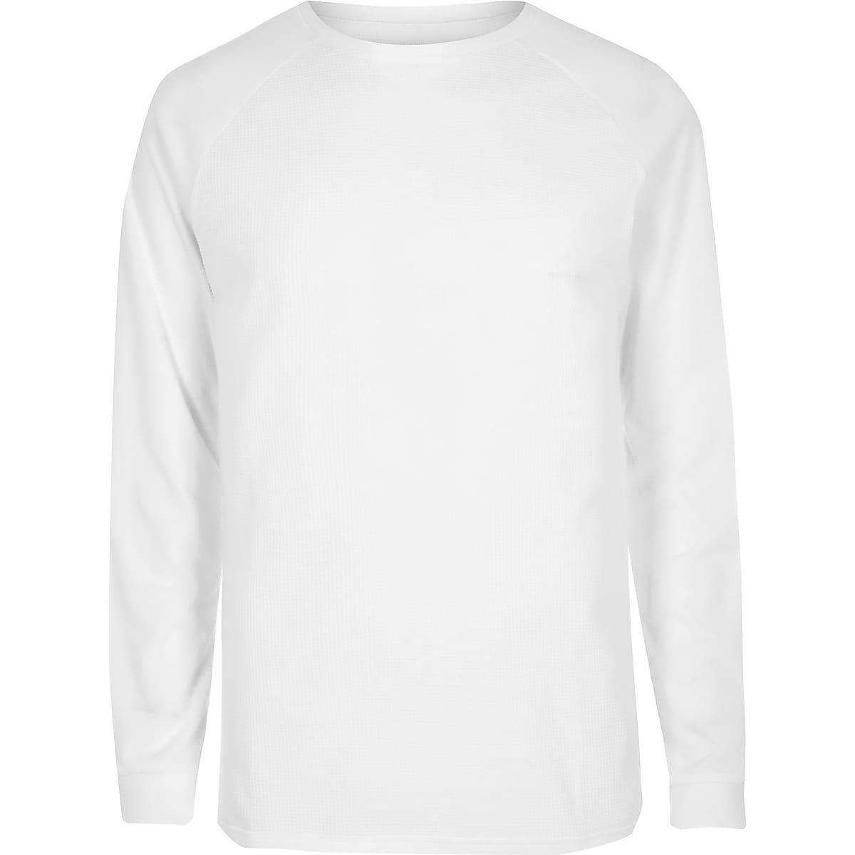 885060afa White waffle long sleeve raglan T-shirt - Long Sleeve T-Shirts - T ...