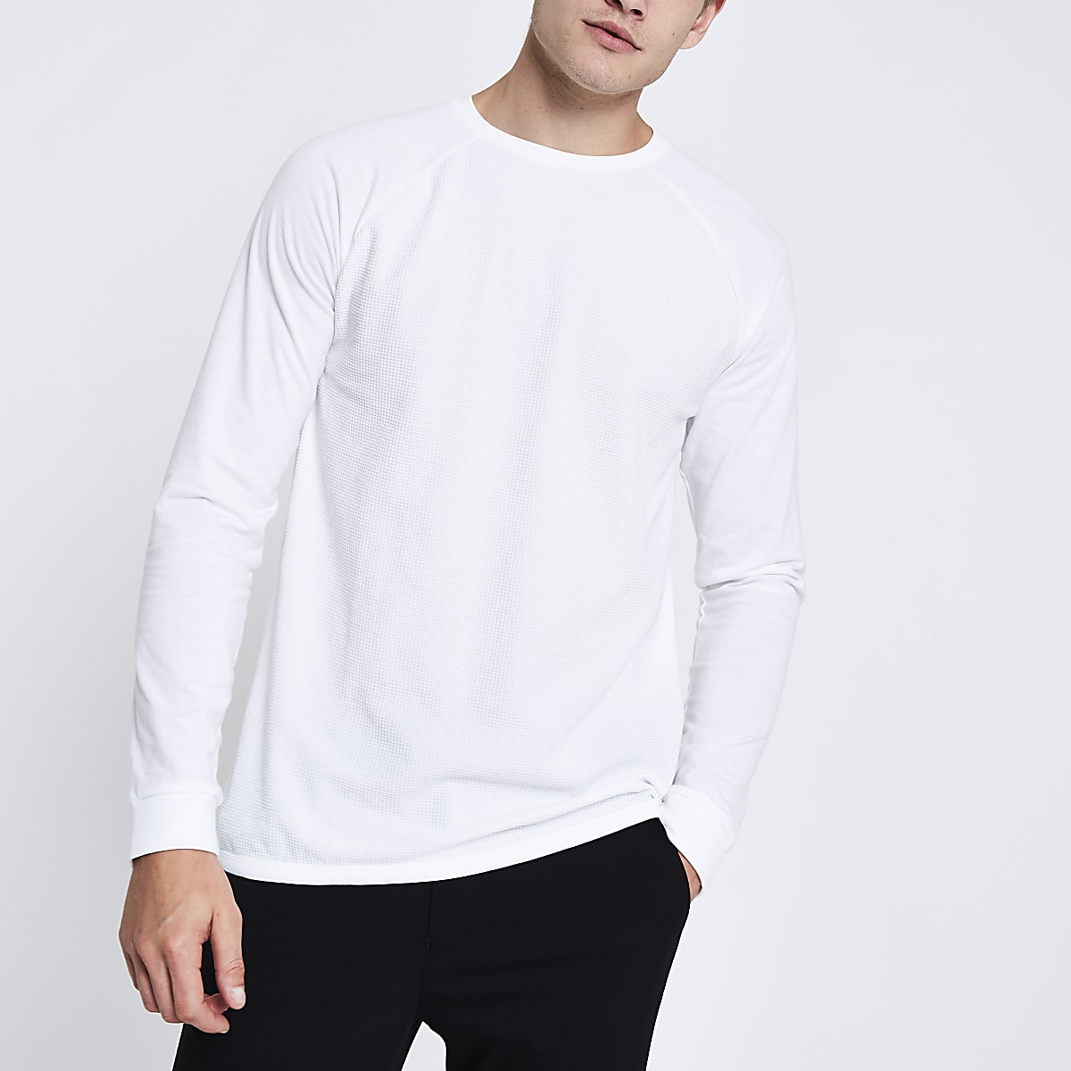 777d8016a White waffle long sleeve raglan T-shirt - Long Sleeve T-Shirts - T-Shirts    Vests - men