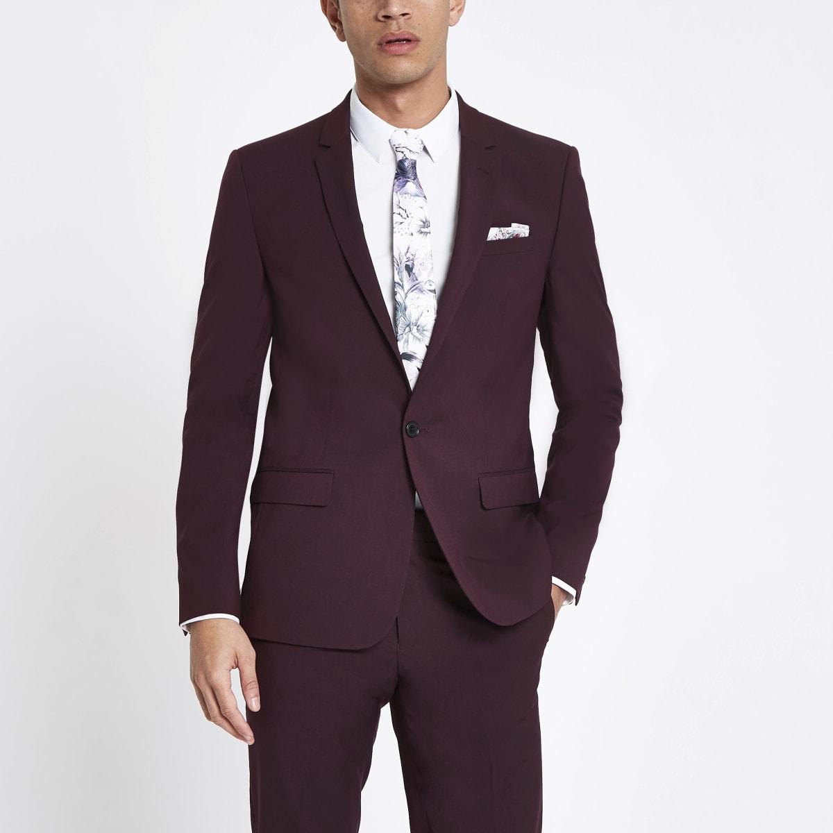 Purple stretch skinny fit suit jacket