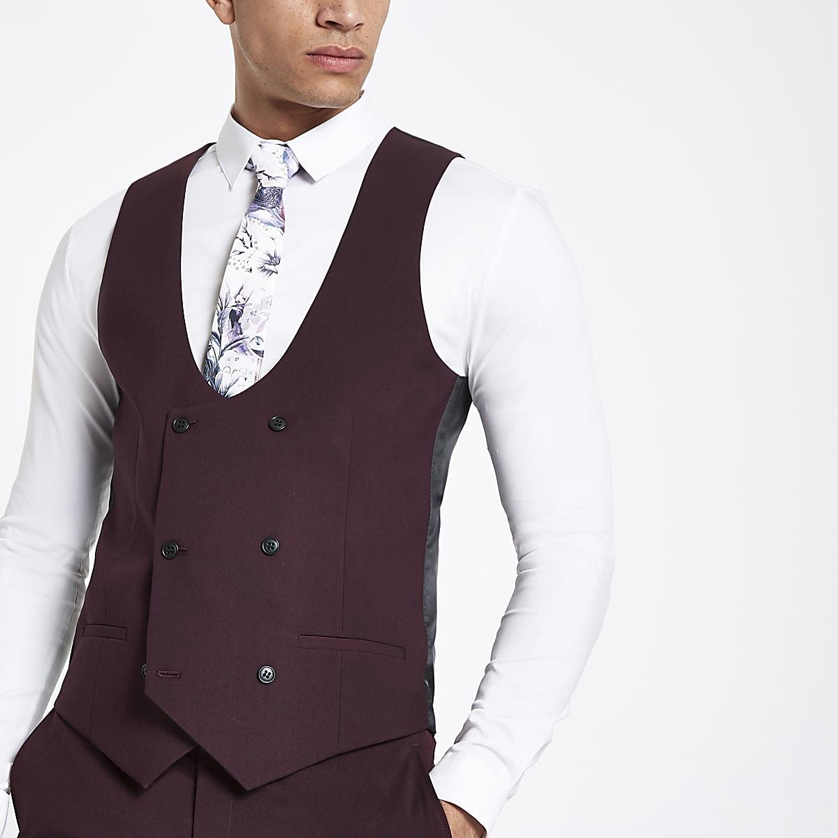 Purple stretch fit suit vest