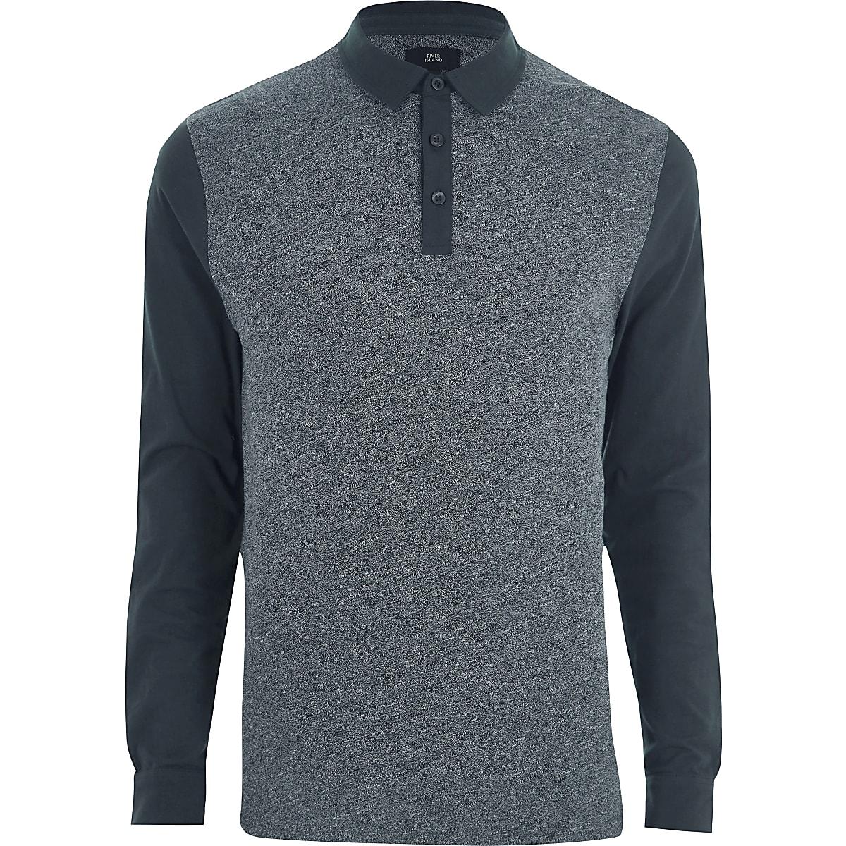 Navy slim fit block long sleeve polo shirt