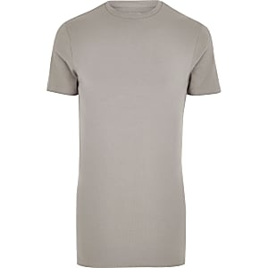 T-shirt ajusté marron long