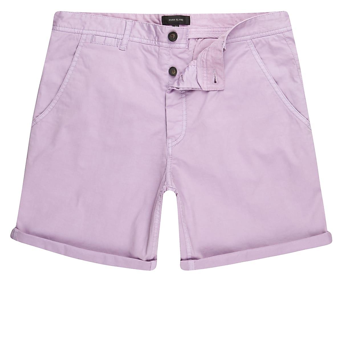 Light purple slim fit chino shorts