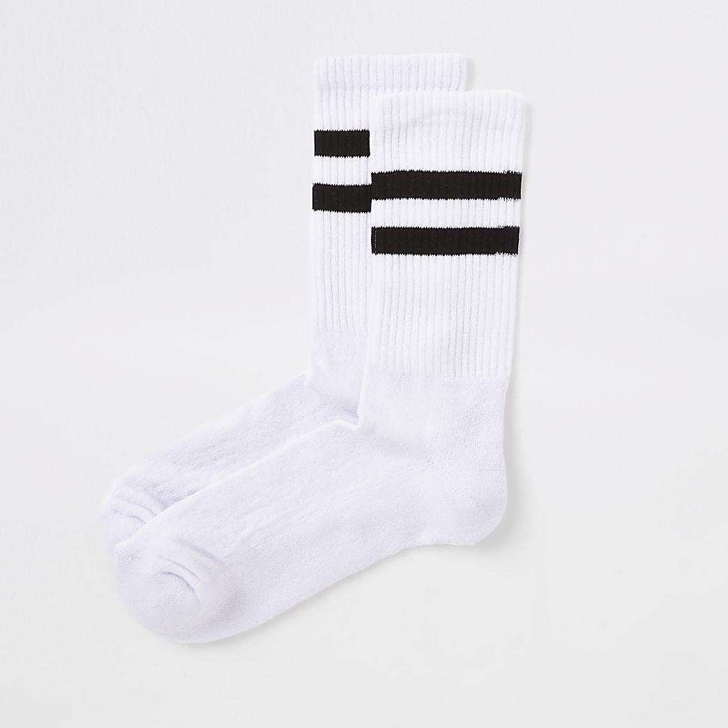 Chaussettes tubes rayées noires et blanches
