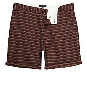 Brown textured stripe slim fit chino shorts