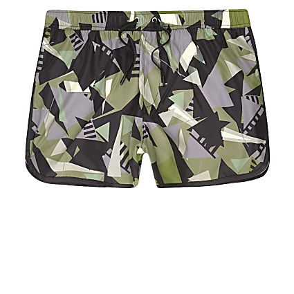 Green camo shard print runner swim shorts