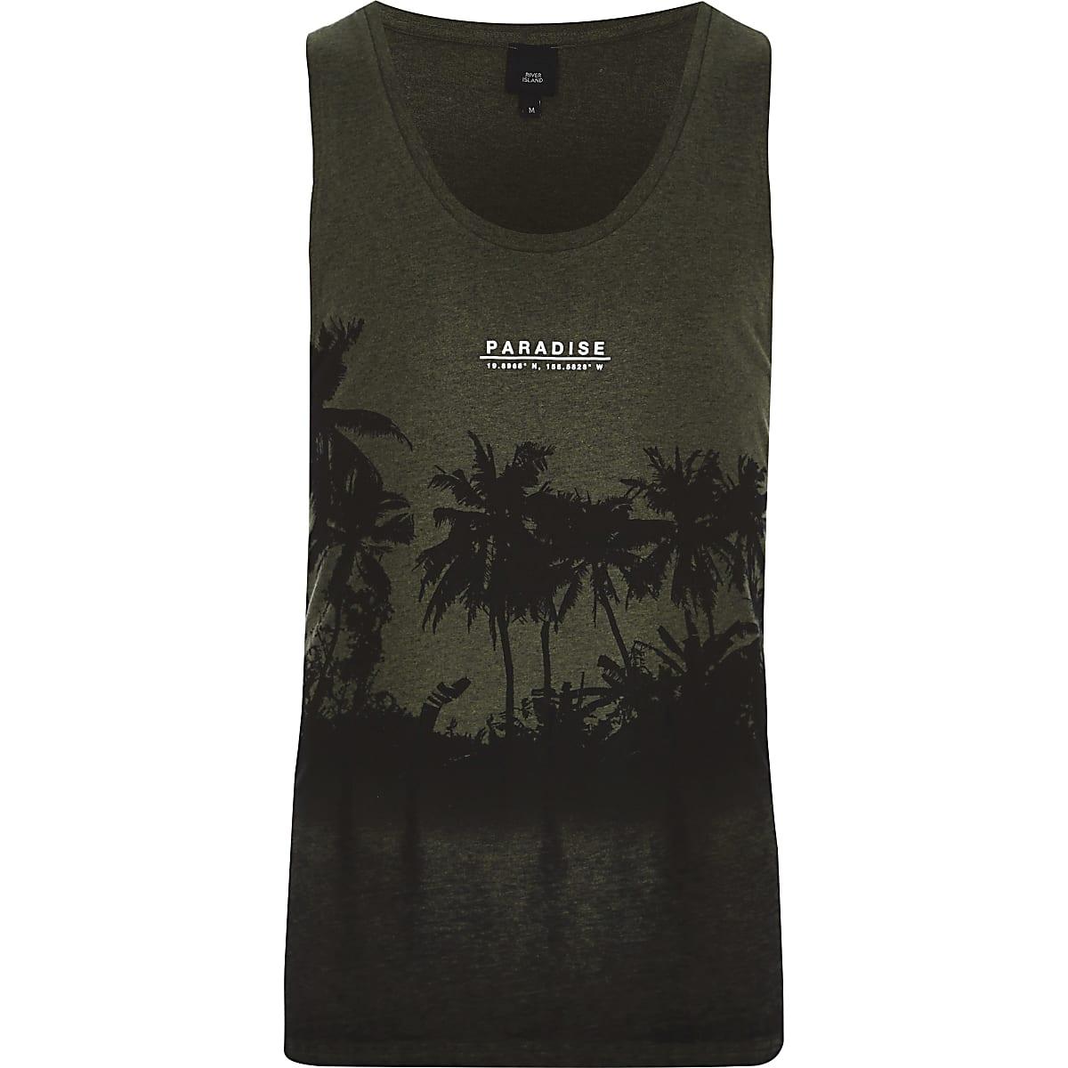 5f52db7c1f299f ... Donkergroen burnout hemdje met 'Paradise'- en palmboomprint ...
