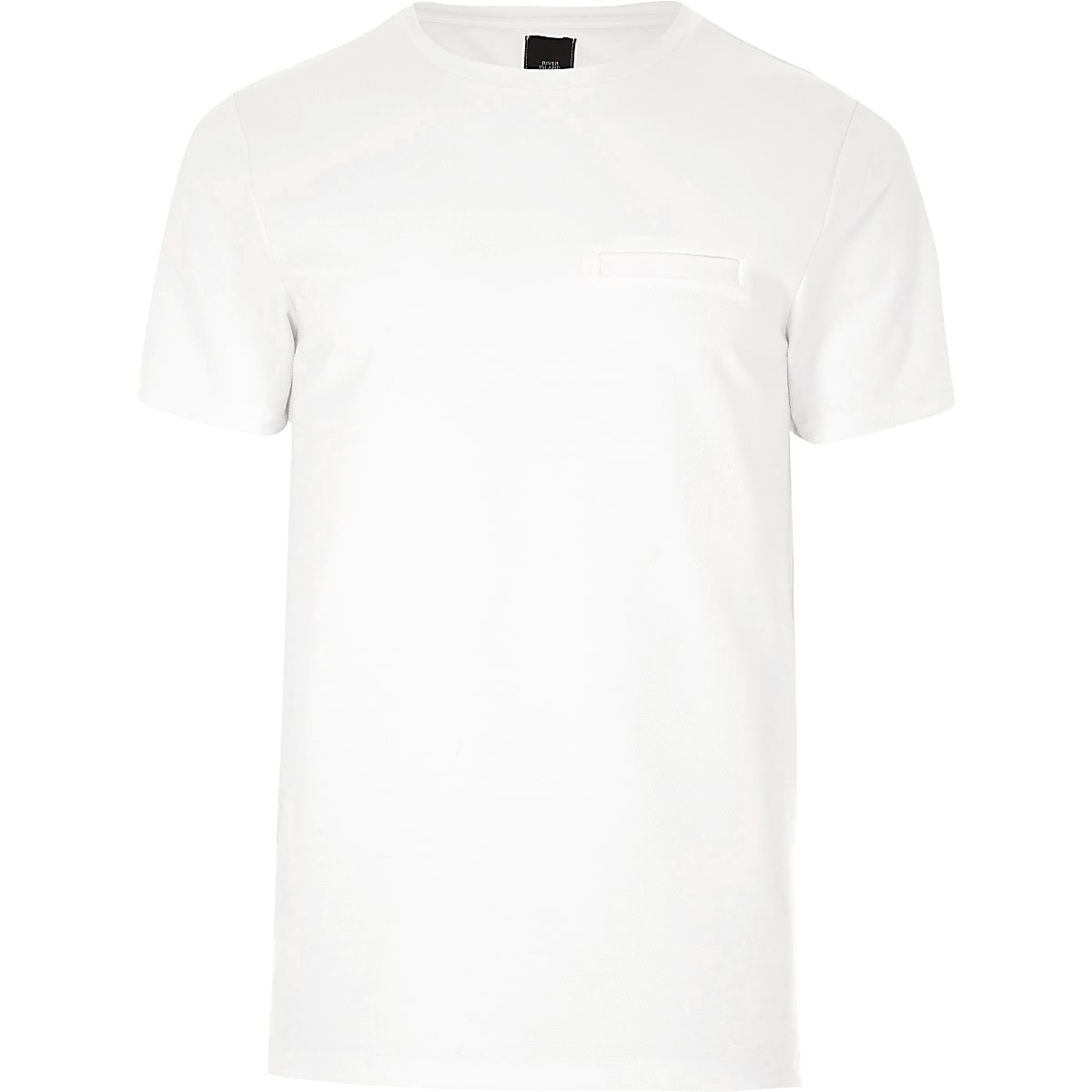 Cream chest pocket slim fit T-shirt