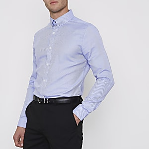 Blue stripe collar bar slim fit shirt