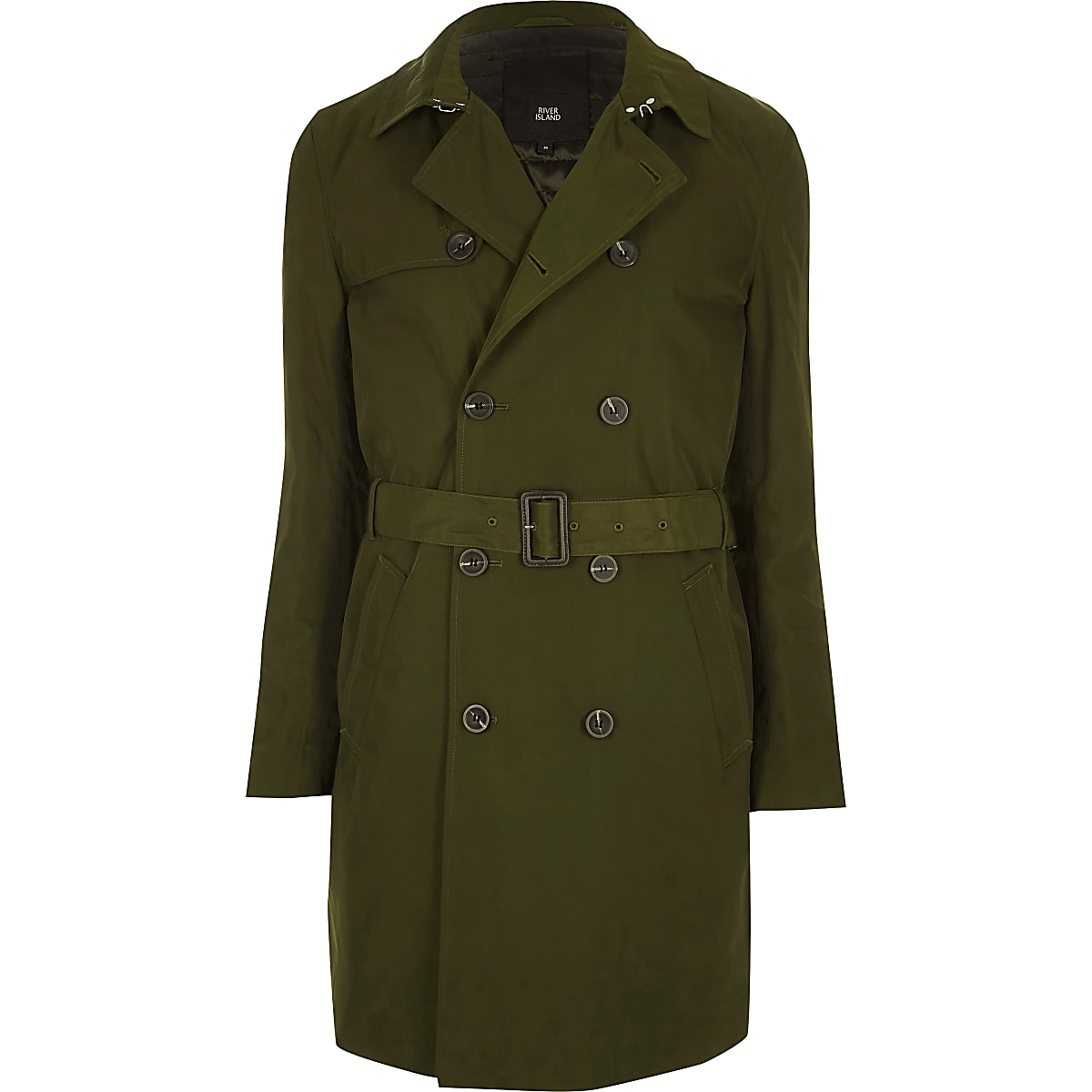 Dark green belted double breasted trench coat